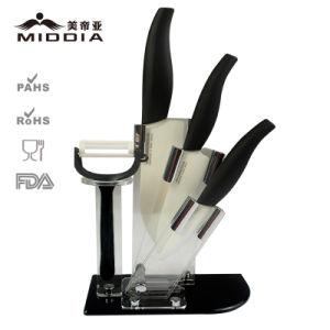 5PCS керамические кухня комплекта ножей с подставкой