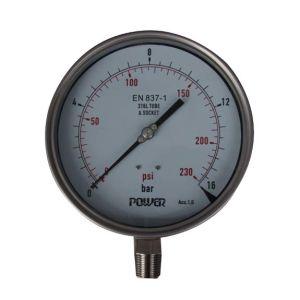 6cm-150mm la parte inferior de acero inoxidable completo Manómetro de presión tipo rosca