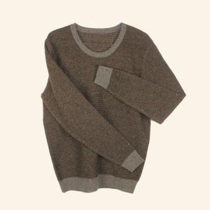 Los hombres de color puro suéter tejido de algodón cuello redondo camiseta