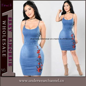 Personalizado de fábrica de ropa de mujer sexy vestido de mezclilla Bodycon cuello en V.