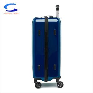 China Nuevo diseño de la superficie de espejo pulido azul ligero PC 20 Telescópica Internacional asa superior Hard Shell Maleta de Viaje Set Maleta Spinner equipaje
