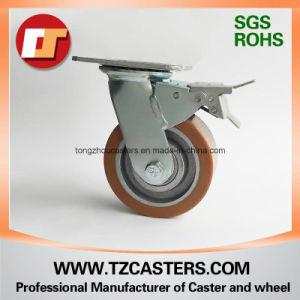 Com o freio do rodízio giratório roda de PU com centro de Ferro Fundido