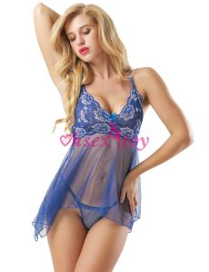 Bleu transparent Lingerie Pure Nuisette maille définie pour les femmes de graisse