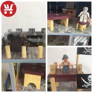 Novo Design Venda quente navio pirata e Casa de brinquedos de madeira Brinquedos de Inteligência do bebé
