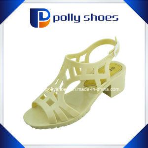 Мода женщин высокого каблука камня сандалии Сандалии из ПВХ