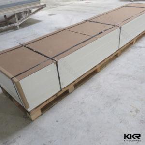 卸し売り台所島の物質的で純粋で白い固体表面のキッチンカウンターの上