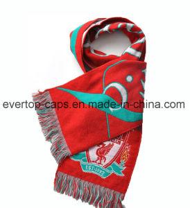 ゆがみのニットのフットボールのスカーフ、編まれたフットボールのスカーフ