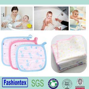 O algodão orgânico Washcloth bebê toalha de rosto tecido Muslin Impressão OEM