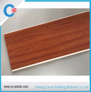 Panneau de plafond en bois PVC laminé à plat 250*8mm*5.95m Panneau mural