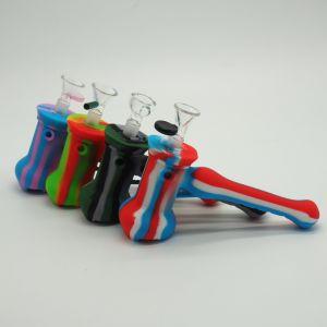 China Hot vender tuberías de agua de silicona de grado alimentario Pipa plataformas DAB con tapa de cristal