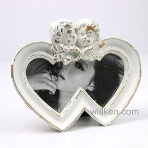 Hot Sale antique forme de coeur Photo Frame, cadeau de mariage de l'amour de la résine cadre photo Blanc