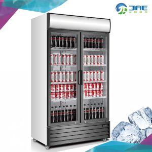 La puerta de vidrio doble bebida fría del refrigerador de pantalla