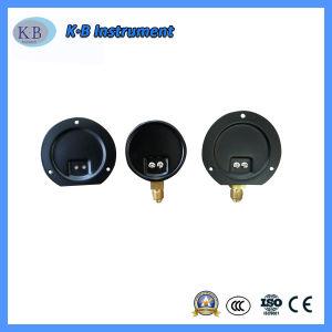 Manometro d'acciaio nero personalizzato di vuoto del residuo di caso con lo zoccolo d'ottone inferiore
