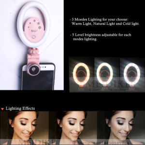 3 modos Selfie belleza Anillo de luz LED 36PC con USB recargable, Selfie Clip de la luz de relleno para el teléfono de sobremesa o portátil