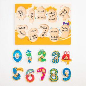 Das bunte hölzerne glatte Zahl-Stöpsel-Puzzlespiel Einfach-Ergreifen Stöpsel-Puzzlespiel