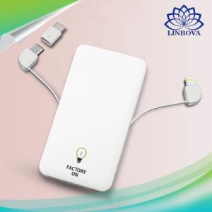 La Banca universale del caricatore del Portable 5000mAh con l'alimentazione elettrica incorporata doppia del cavo per il telefono della galassia di Samsung di iPhone