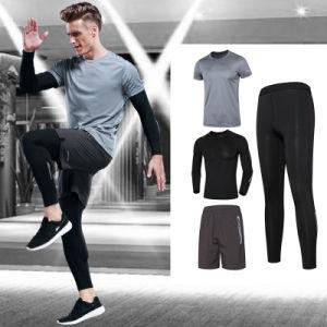 ea04ec8c5 Custom Spandex llano seco Gimnasio Hombres camiseta compresiones conjuntos  de ropa de Fitness para hombres