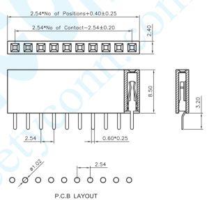 O terminal U Style 2,54 mm H 8,5 mm fêmea DIP a Plataforma