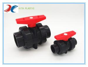 Unión PVC doble válvula de bola utilizada en la marca de agua.