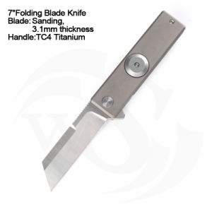 7cierra la aleación de titanio satinado empuñadura auxiliar de la primavera de la hoja cuchilla Cuchilla giratoria alcance Gyro espiral