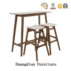Venda por grosso de mobiliário de madeira sólida Pernas Club Bar Mesa e conjunto de fezes (HD718)