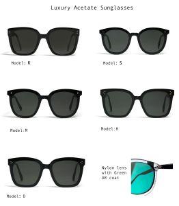 Verres de lunettes de soleil Lunettes de soleil carrés pour les femmes, acétate de lentille en Nylon de trame surdimensionné GM
