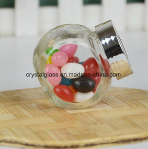 Flache Kugel-Nahrungsmittelglassüßigkeit Jay mit Goldschutzkappe 180ml