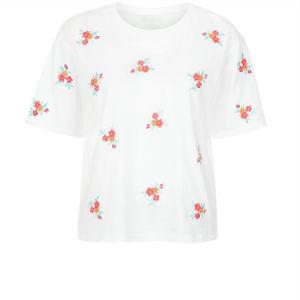 꽃 수를 놓은 짧은 소매 t-셔츠