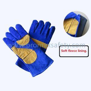 Clique duas vezes a Palm Vaca Azul dividir o trabalho de segurança luvas de couro de soldadura