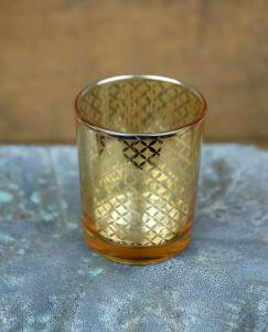 Portavelas de vidrio con el patrón de láser