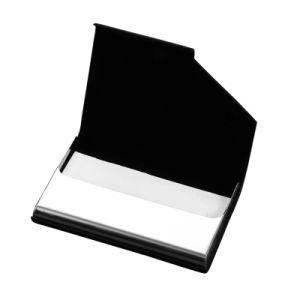 Logotipo personalizado de alta calidad de titular de tarjeta de negocios de cuero de PU