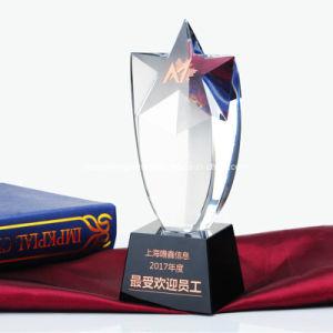 Commerce de gros de l'acrylique trophée de cristal avec cinq étoiles