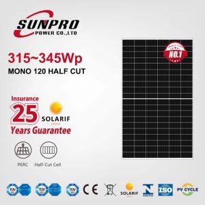 Sunpro potencia 330 W de alta potencia 335W a 340W 345W 350W panel solar 158mm mono G1 120 la mitad de la célula solar de corte de energía fotovoltaica Monocrytalline