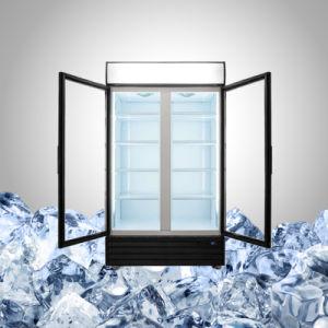 ヒンジまたはスライドガラスドアが付いている商業両開きドア冷却装置