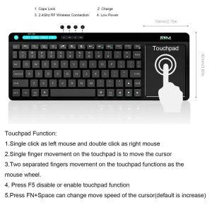 Дешевые Мини-клавиатура с сенсорной панелью, подходит для телевизора в салоне, Smart TV, IOS, Android, многоязыковой компоновки