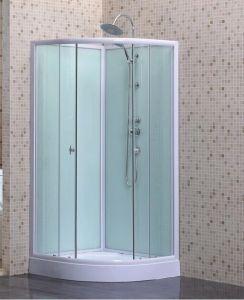 Abra a porta deslizante de vidro transparente cabina de duche com vidro de fundo branco
