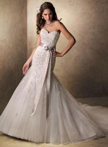 Элегантный Русалки платье Organza использованием стекла невесты свадебные платья