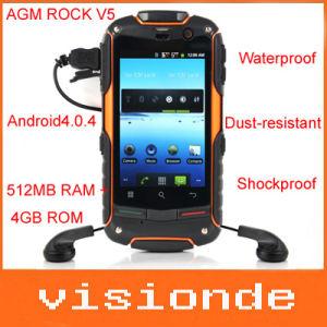 Ursprünglicher AGM-Felsen V5 imprägniern staubdichte Shockproof des Android-3G Kompass-Licht-Fackel Handy-Unterstützungs-GPS-WiFi