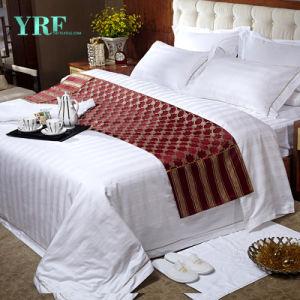 100%年の綿白い合われたシート一定OEMのホテルの寝具