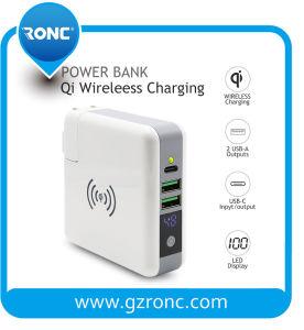 3 в 1 многофункциональных ци Банка питания зарядного устройства беспроводной связи с адаптер зарядного устройства на стене