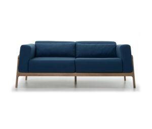 Tejido de diseño moderno que viven en la pierna de madera Muebles de hogar sofá