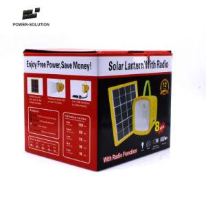 Designe Nuevo Solar recargable linterna con radio, cargador USB, indicador de nivel de batería