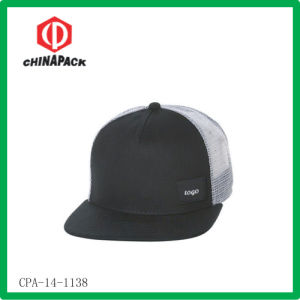 Black Blank Flat Peak Caps (CPA-14-1138)
