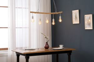 5L colgante con barra de madera+Matt portalámparas de Metal Blanco+Lavar madera gris+Cable trenzado de color negro/Lámpara de pie/luz de la llama de la luz de interior/Lámpara/madera