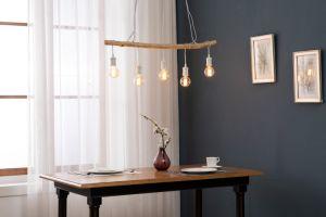5L colgante con la barra de madera+Matt portalámparas de Metal Blanco+Lavar madera gris+Cable trenzado negro