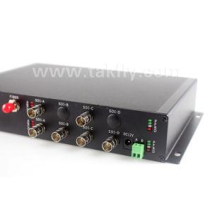 ファイバーの送信機および受信機への6チャネルSdi