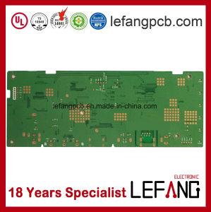 O PCB da placa de circuito com componentes eletrônicos