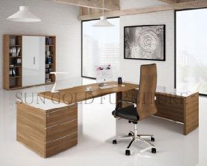 Mobilier de bureau moderne en bois de teck en forme de loffice desk