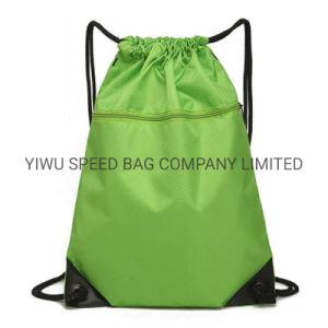 Poliéster Drawstring Gimnasio Sport plegable Mochila bolsa de regalo con bolsillos