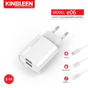 Enchufe rápido inicio de la UE adaptable de pared doble cargador 2.1A Adaptador USB con cable de datos USB Tipo C compatible